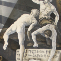 Three Naked Men Climbing